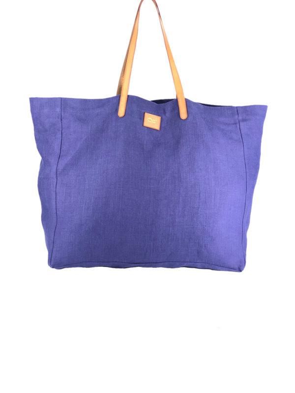 Cabas Lino bleu indigo en lin français et cuir tanné végétal