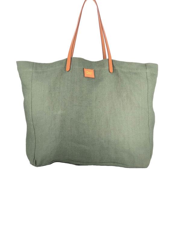 Cabas Lino vert kaki en lin français et cuir tanné végétal