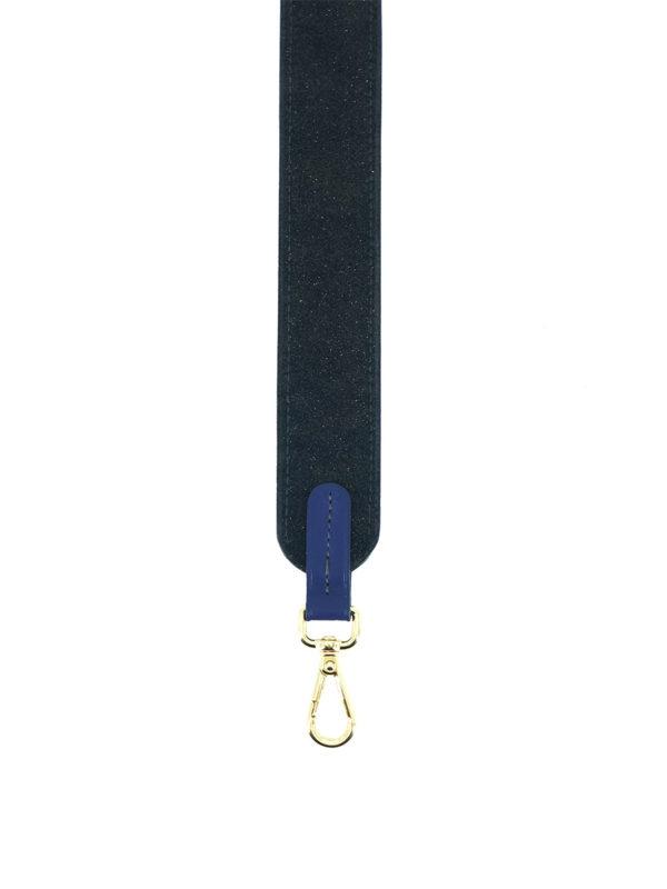 Bandoulière cuir noir pailleté et bleu