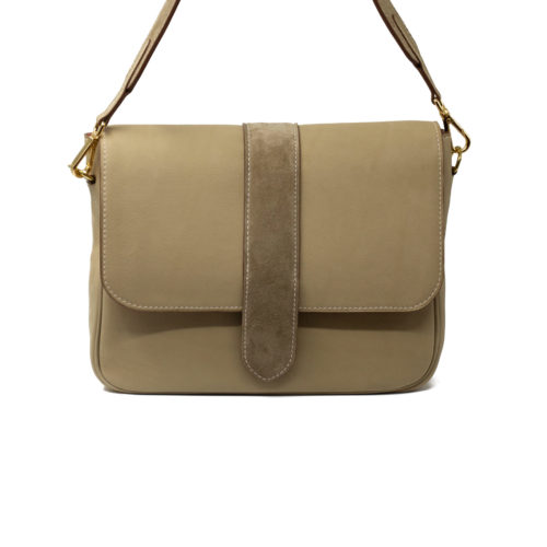 Sac Grand Paris cuir Taupe - avant