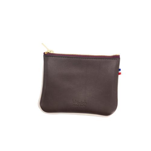 Billie - Petite pochette de sac - cuir tanné végétal ébène