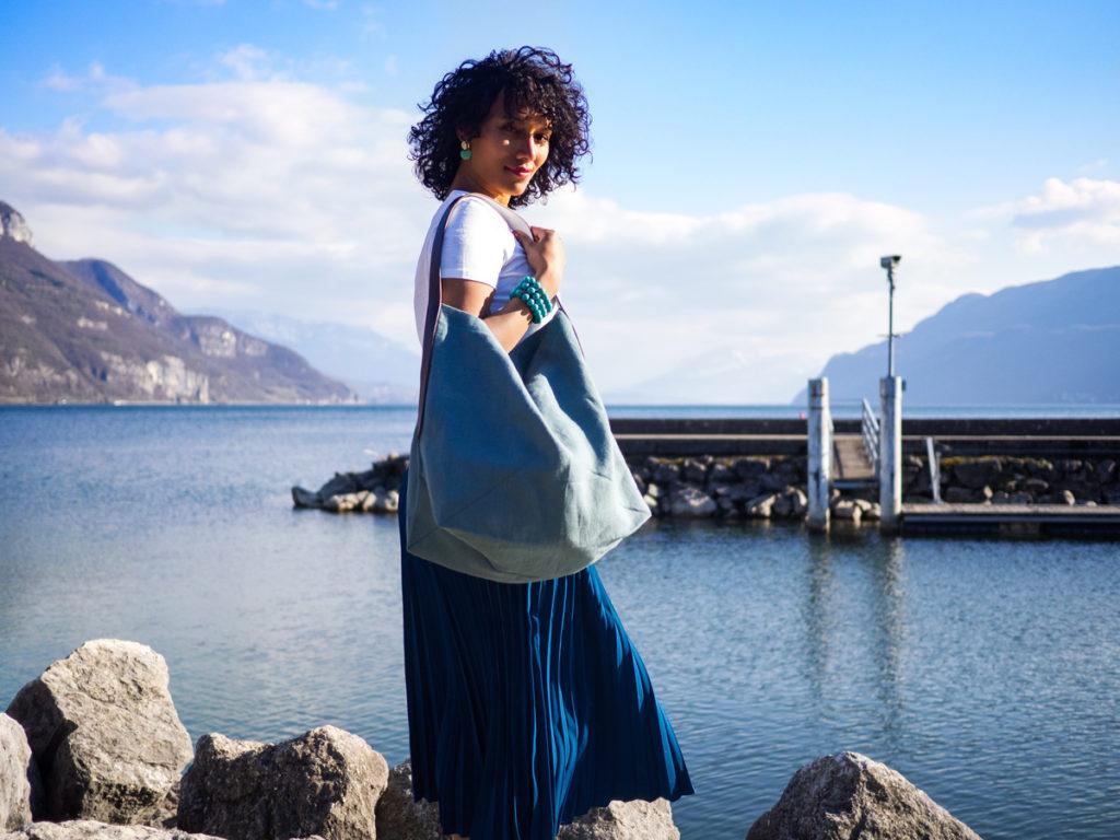 Lino sac cabas bleu clair